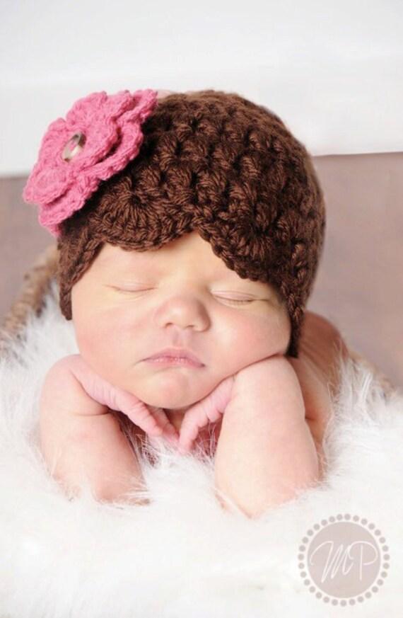 Brown Shell Beanie with Pink Flower - Newborn