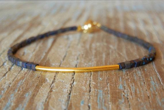 Delicate Tiny Peacock Blue & Small Gold Bar Modern Friendship Bracelet