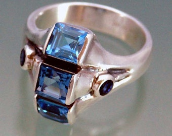 Blue Topaz Ring with Sapphire - Paddle Wheel Ring Ready for Immediate Shipment