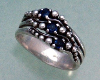 Sapphire Ring PPS Triple or With Stone of Your Choice