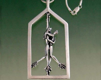 "Ballroom Frog Necklace with 16"" Cobra Chain"