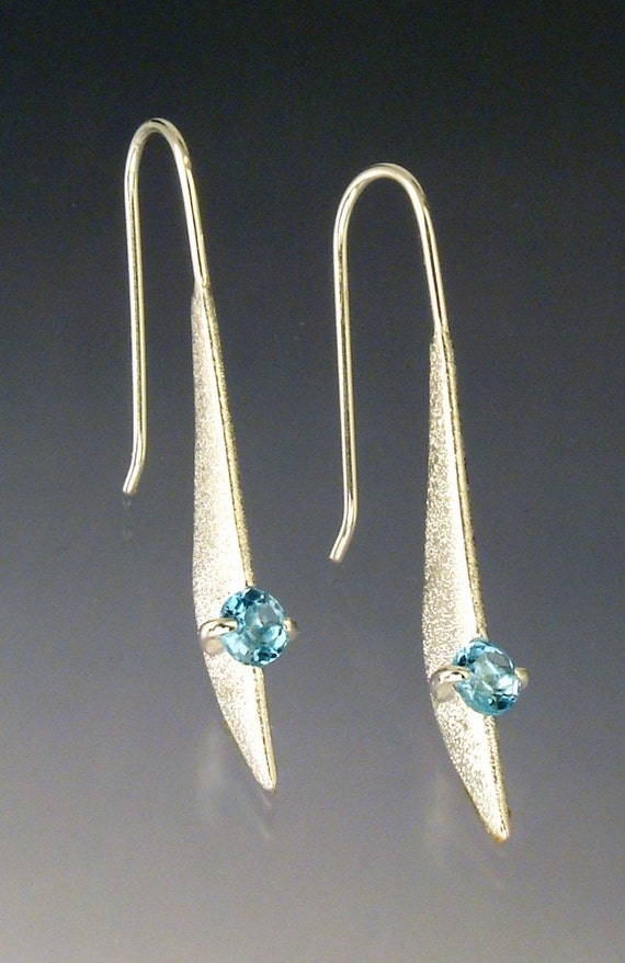 Rudder Earrings with Blue Topaz or Other Stone