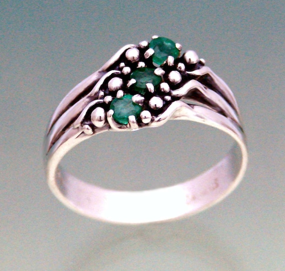 3BS Triple with Emeralds Size 8 1/2 -  Available for Immediate Shipment