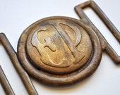 Vintage Brass Belt Buckle Initials EP