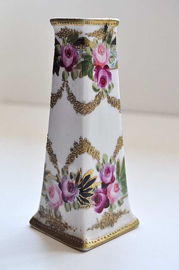 Antique Victorian Nippon Bud Vase Hat Pin Holder By Maudeandlola