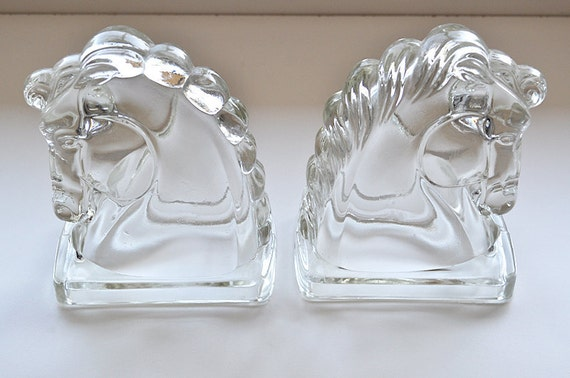 Vintage Bookends Glass Horses