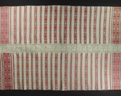 ANTIQUE Linen Tablecloth Romanian folk art textile peasant weaving handmade crochet lace