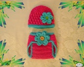 Pink and Turquoise Hat and Diaper Cover - Photo Prop Set - Available in Newborn to 24 Months - Any Color Combination