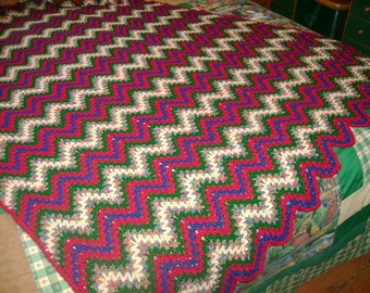 READY TO SHIP - Multi-Colored Ripple Crocheted Afghan - V-Stitch Pattern - 48x60