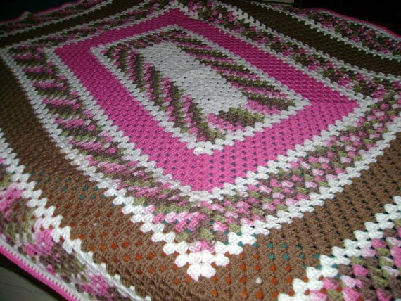 READY TO SHIP - Pink and Brown Crochet Afghan - Rectangular Granny Square Pattern - Approx 48x60