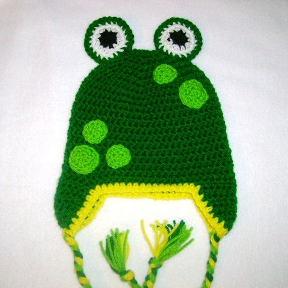 Mr Frog Crocheted Hat Available in Any Size