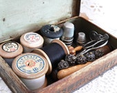 SALE Antique Sewing Kit In A Tin Box