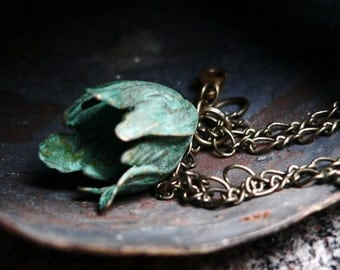 Verdigris Patina Tulip Necklace