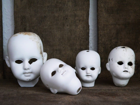 A N T I Q U E  Bisque Parts Doll Head Germany 1860 - Set Of 4