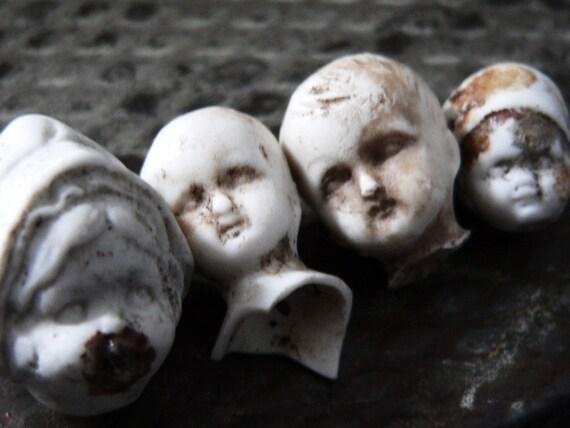 RESERVED A N T I Q U E porcelain charlotte heads1860 Germany - Set Of 7