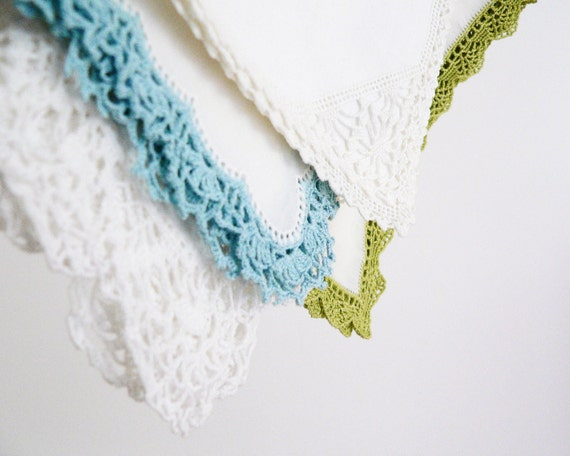 V I N T A G E Shabby Chic Handkerchiefs With Hand Crocheted Colorful Edge - Set Of Four