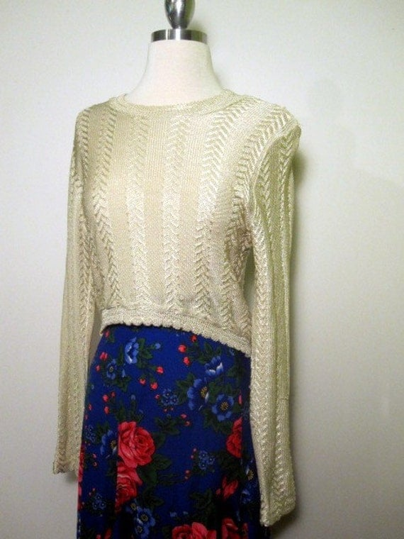 S A L E // Vintage Long Sleeve Golden Crop Top