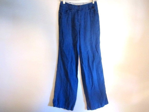 S A L E // Beautiful Vintage Italian Blue Linen Pants