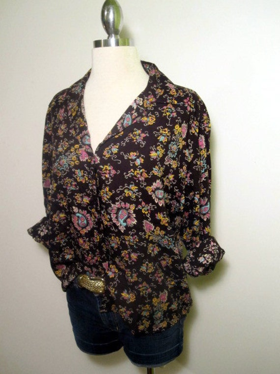 Vintage Generra Paisley Print Button Up Top
