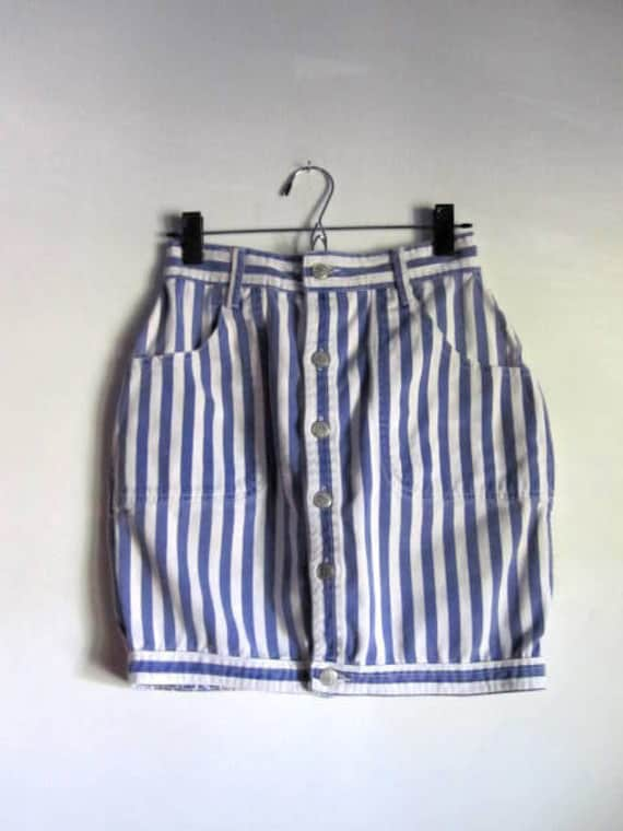 80's  Fitted Reversible Jean Skirt
