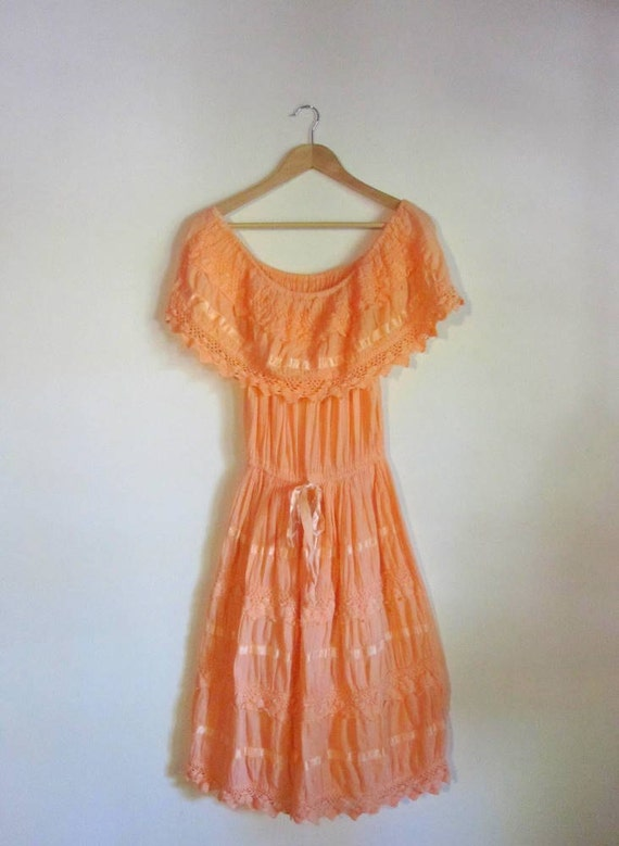 S A L E //  Beautiful Vintage Coral Mexican Dress