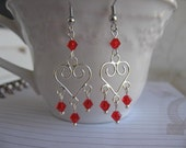Red dangle earrings Heart swirls, Red swarovski crystals
