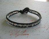 Black Leather Crystal bracelet . Black and silver crystals . black and silver bracelet . leather bracelet