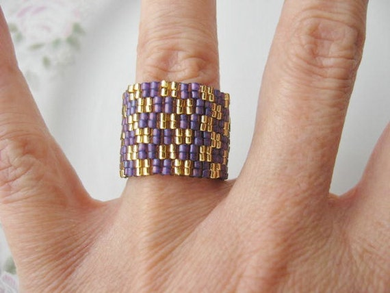 Peyote stitch Ring . Purple and Gold Beaded Ring