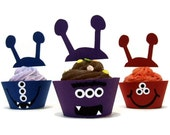 Monster Cupcake Wrappers AND Toppers 24