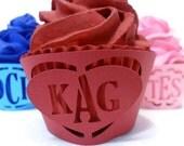 Monogram Cupcake Wrapper  Heart - set of 12