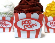 Popcorn Cupcake Wrappers - Set of 12