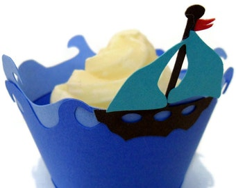 Sail Boat Cupcake Wrappers - Set of 12