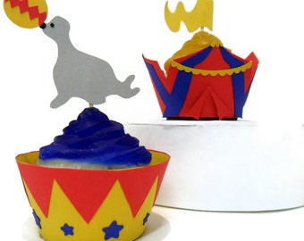 Circus Cupcake Wrappers AND Toppers- set of 24