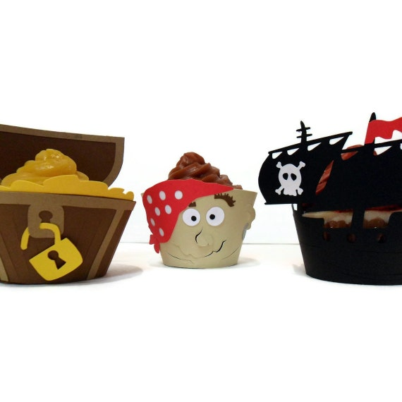Pirate, Treasure Chest and Pirate Ship Cupcake Wrappers - set of 12