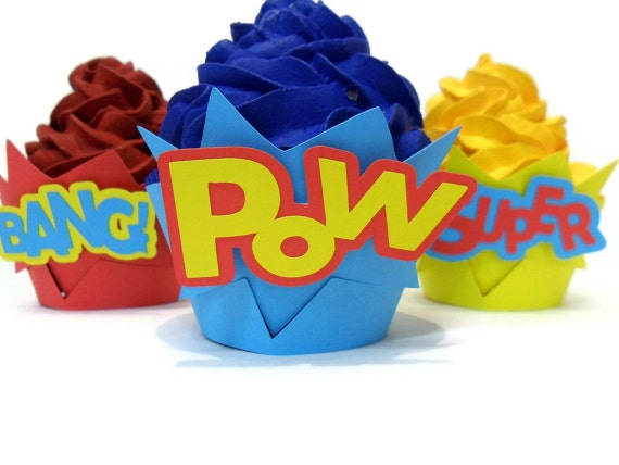 Comic Book Cupcake Wrappers - set of 12