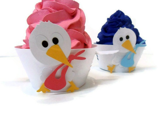Cupcake Wrappers Stork - set of 12