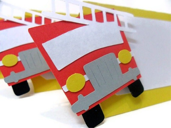 Fire Truck Tent Cards - Set of 6