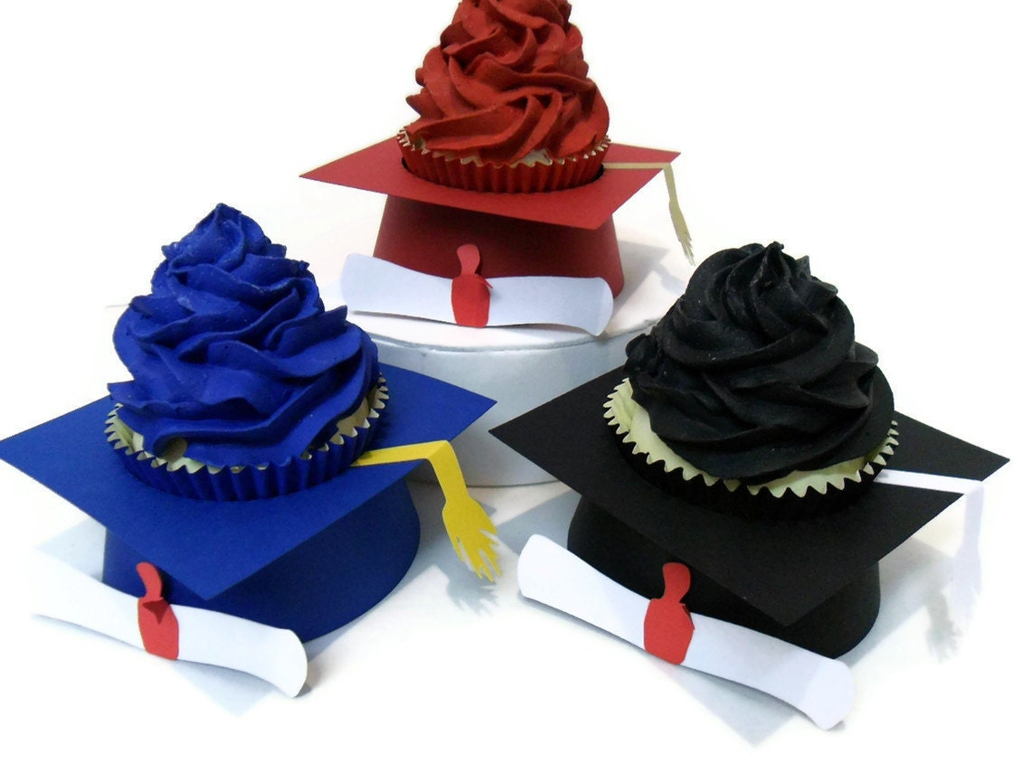 graduation cap cupcake wrappers grad hat cupcake toppers set