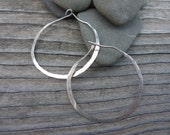 Hoops. Sterling Silver Hammered Earrings.