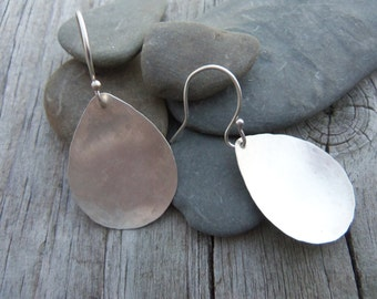 Silver Teardrop Earrings. Simple hammered sterling Silver teardrops