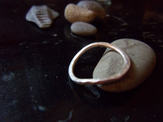 Thin Ring. Silver Curved Wave Ring. Sterling Silver Hammered Band