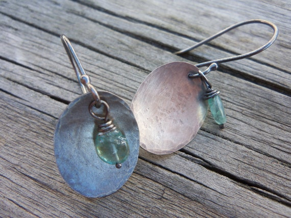 Hammered Sterling Silver Oval Earrings.  Aquamarine Gemstone  Drops