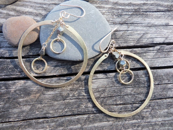 Big Hoops with dangling chains. Hammered Gold brass with sparkly faceted pyrite.  14k goldfill ear wires