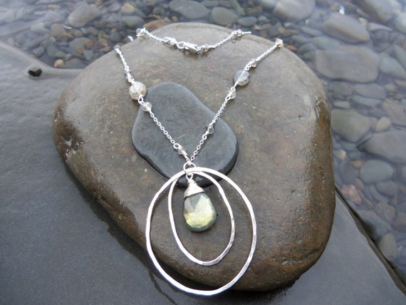 Sterling Silver Hammered  Circle Necklace.  Labradorite focal point