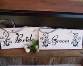 OLD Barnwood Bride and Groom Chair Signs Rustic Wedding Shabby Chic Photo Prop
