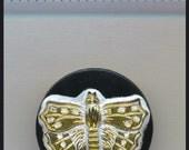 Rare Vintage GLASS Button BUTTERFLY Czech Black Platinum 22 K Gold