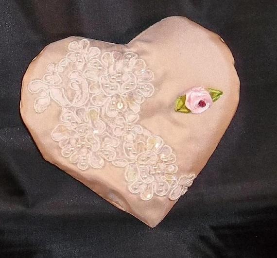 SILK Heart Baby Pink Lace Lavender Bridal Sachet OOAK
