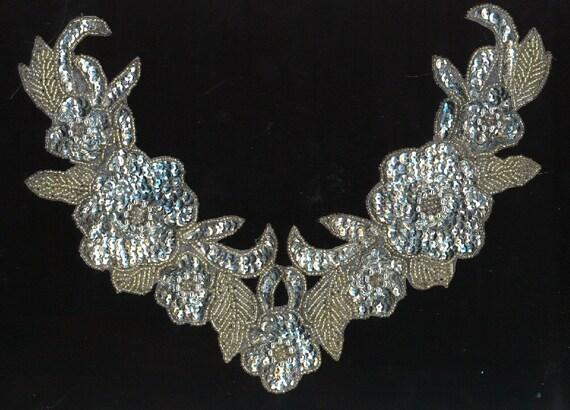 Antique Neckline APPLIQUE Silver Glass Beads Sequins