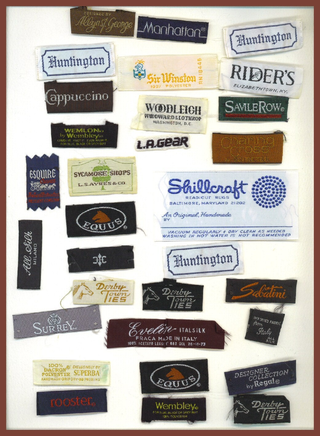vintage designer clothing labels embroidered 1980s and earlier