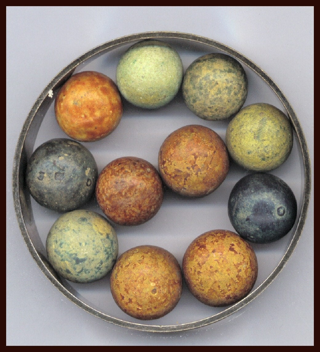 Antique Clay Stone Marbles Set 11 Vintage Colorful